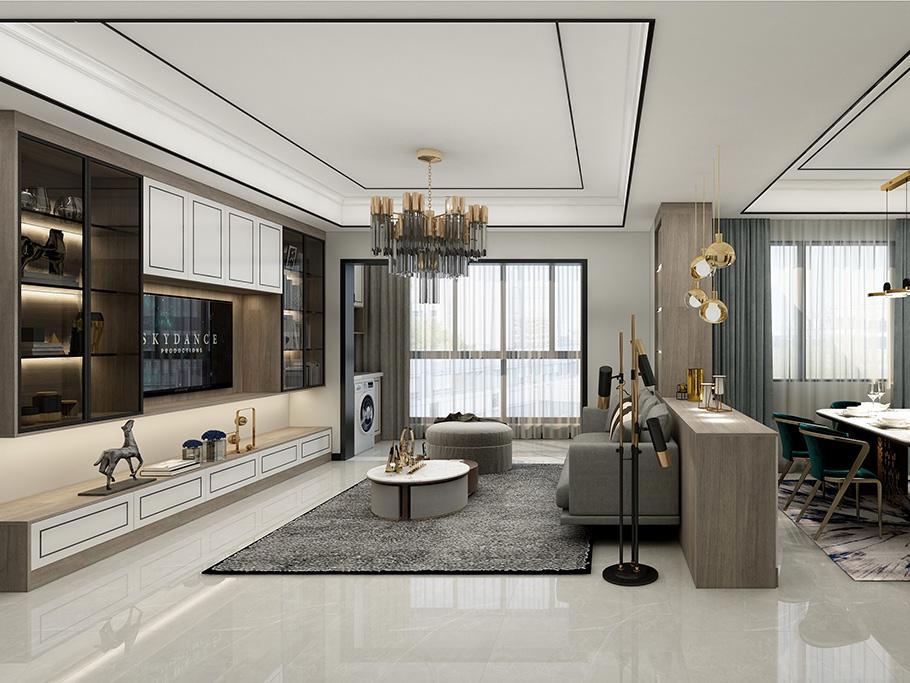 简约美式客厅电视机柜展示